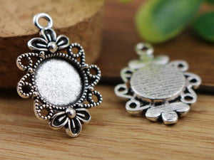 16pcs 12mm Inner Size Antique Silver Fashion Style Cabochon Base Cameo Setting Charms Pendant (A2-16)