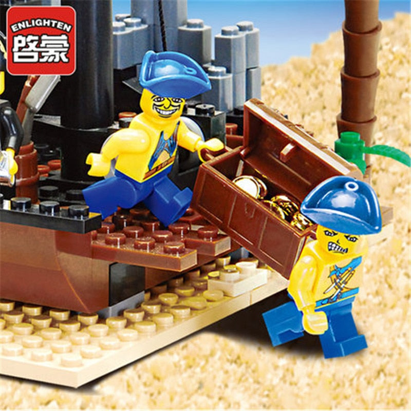 178Pcs Pirates of the Caribbean Scrap Dock Ship Boat Building Blocks Sets Castle LegoINGLs Creator City Bricks Toys for Children