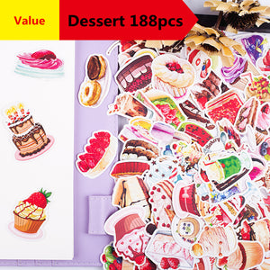 188pcs Creative cute self-made Gourmet food dessert cake  scrapbooking stickers /decorative  /DIY craft photo albums  Waterproof