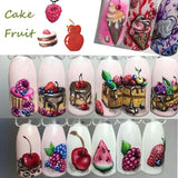 18pcs Hot Cake/Ice Cream Nail Sticker Mixed Colorful Designs Women Makeup Water Tattoos Nail Art Decals Manicure CHSTZ471-488