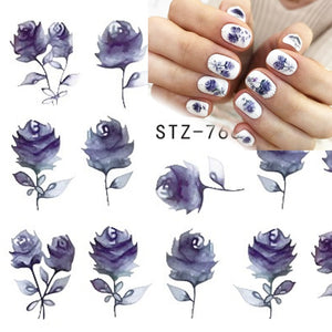 18pcs Watermark Nail Stickers Water Decals Black White Geometry Flower Tattoo Slider Manicure Nail Art Decoration JISTZ761-778-1
