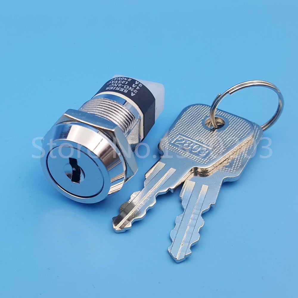 19mm Metal 4Pin ON-OFF 2Position DPST A Series Electronic Lock Key Switch