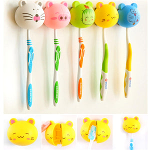 1PC 3D Lovely Cartoon Toothbrush Holder Stand Mount Wall Suction Grip Rack Home Bathroom Products for Kids Pattern At Random