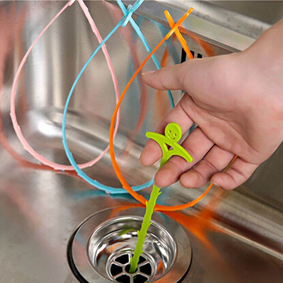1PC Bathroom Floor Hair Cleaner Sewer Filter Drain Cleaners Kitchen Sink Drian Filter Strainer Bathtub Cleaning Hook Tool Orange