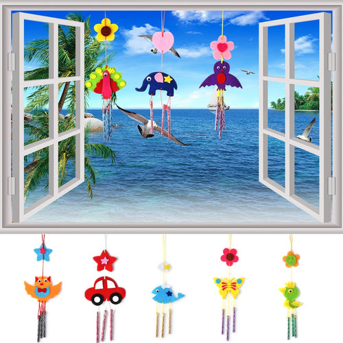 1PC Kids DIY Puzzle Toys for Children Kids Campanula Wind Chime Kids Manual Arts Crafts Hanging Kits Puzzles Kids Toys Random