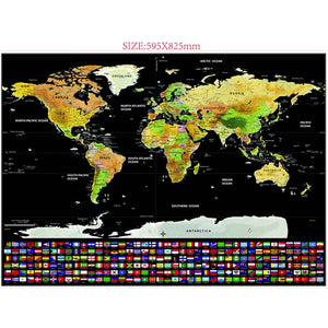 1PCS Travel Scratch Map Gold Foil Travel Map Travel World Scratch Off Foil Layer Coating World Map School Office Supplies