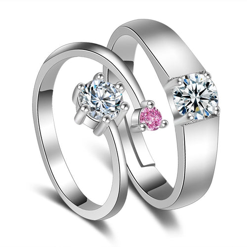 1Pair Couple Rings Fashion Silver-color Adjustable Rings With White Crystal Romantic Wedding Ring For Lover's Jewelry Gift