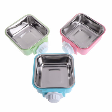 1Pc Pet Bowl Stainless Steel Water Food Feeder Feeding Dog Puppy Cat Hanging Cage Square Bowls Pet Supplies Color Random C42