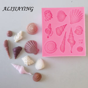 1Pcs DIY Lovely Shell Starfish Conch Sea Silicone Mold Fondant Cake Decorating Tools Soap Mold Cake Chocolate D0542