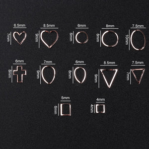 1box Hollow Frames Heart Ring Waterdrop Triangle Square Cross Sequins Nail Art Decorations 3d Manicure DIY Accessory Design