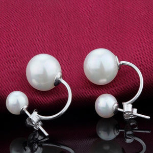 1pair Stainless Steel Woman Earing Fashion Jewelry Ball Stud Earrings Women Double Simulated Pearl Earrings Pendientes Mujer