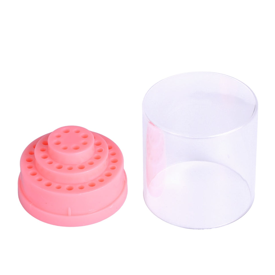 1pc Plastic Nail Art Drill Holder Gel Polish Cutter Storage Box Bit Display Organizer Pink Nail Tool UV Manicure Container BE175