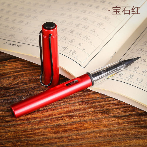 1pc Red Metal Calligraphy Pen Soft Hair Writing Brush Watercolor Fountain Pen Painting Drawing Tool School Supplies Stationery