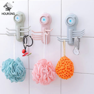 1pc Strong Vacuum Sucker Wall Hooks Six Claw Hooks Rack Home Kitchen Bathroom Storage Hook Clothes Towel Holder Rack Organizer