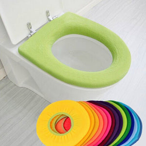 1pc Warm and Comfortable Toilet Seat Cover for Bathroom Products Cotton Pedestal Pan Cushion Pads Colors Random