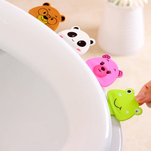 1pcs Cute cartoon creative toilet portable toilet cover is not dirty hands opened toilet lid toilet lifting tool