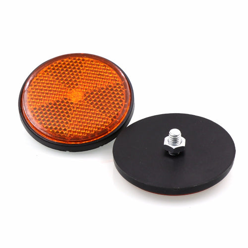 (2 PCS)Decorative Round Reflective Plate  Reflectors for Motorcycle Bicycle Moped