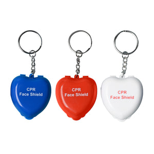 20 Pieces CPR Protect Masks Keys Chian Mouth To Mouth Rescue CPR Face Shields In Mini Heart Box With One-way Valve