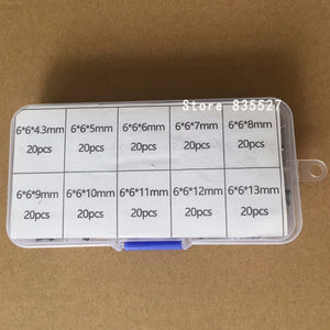 200pcs / 10 models 6*6 Light micro touch Switch sets Push Button Switch Kit , Height: 4.3MM - 13MM DIP 4Pin 6x6 Keys Tact ON/OFF