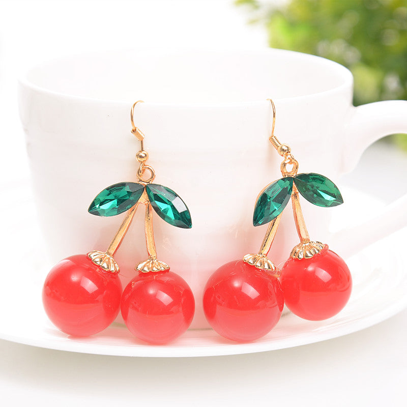 2016 Fashion Gold Color Charm Green Crystal Leaves Double Big Red Cherry Earrings For Women Girl Party Jewelry Brincos