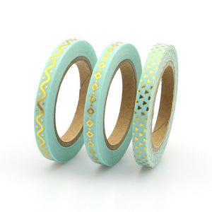 2017 Blue Foil Washi Tape Set Japanese 5mm*10m Kawaii Scrapbooking Tools Masking Tape Christmas Photo Album Diy Decorative Tapes