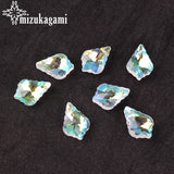 2017 Fashion Shining Crystal Baroque Leaf Pendant Beads Side 16mm 10Pcs For Crystal DIY Jewelry Accessories