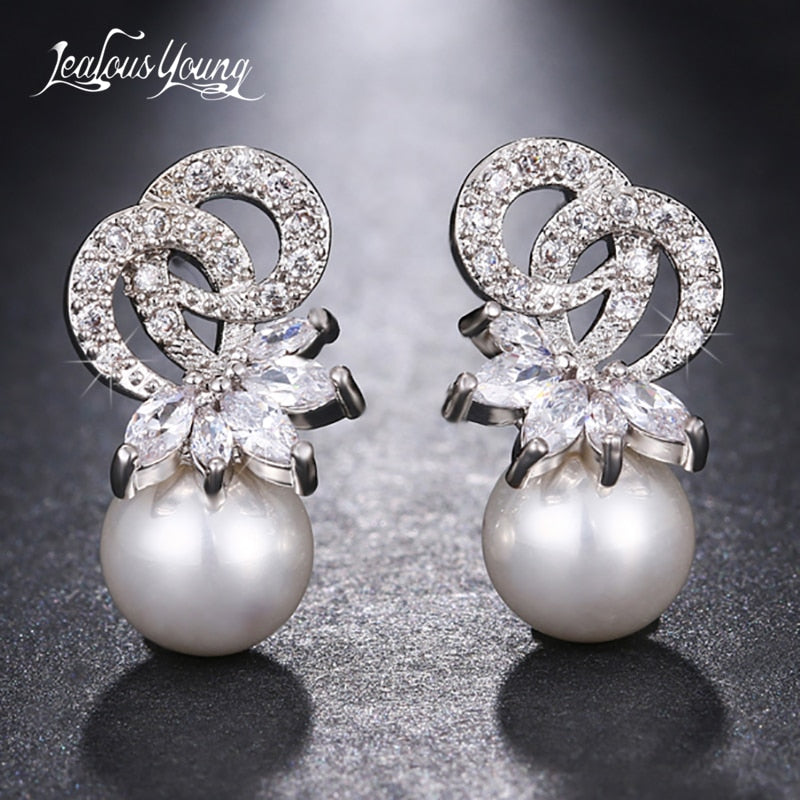 2018 Classic Marquise Zircon Hang Simulated Pearl Wedding Drop Earrings For Women Luxury Crystal Bride Party Jewelry Gift brinco
