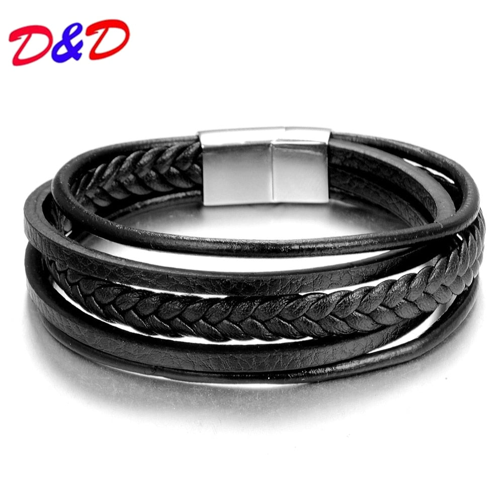 2018 Fashion Charm Jewelry  Punk Cool Men Genuine Leather Bracelets For Male Christmas Gifts