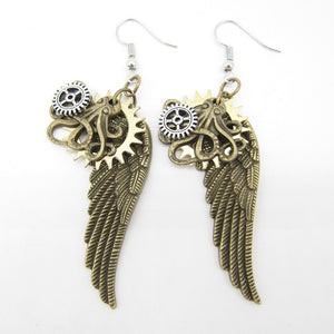 2018 Original Design Brass Ox Octopus and Wings Vintage Steampunk Charm Earring Fashion Jewelry