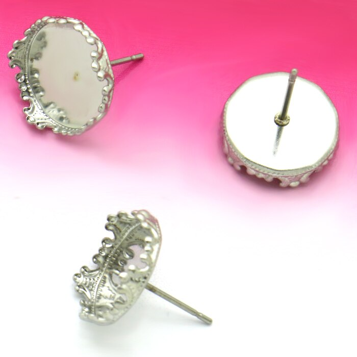 20pcs Stainless Steel  Ear Stud with inner 12mm Crown Cabochon Cameo Setting  Blank base,  DIY Jewelry  findings No Fade
