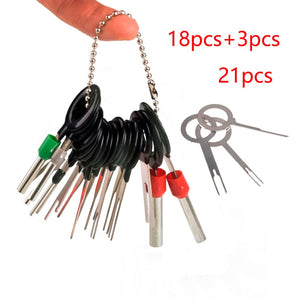 21pcs Auto Car Plug Circuit Board Wire Harness Terminal Extraction Disassembled Crimp Pin Back Needle Remove Tool Kit