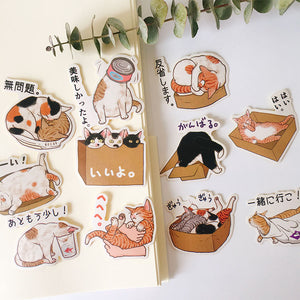 22pcs Cute cat Kids Fun Paper Stickers Homemade Bookkeeping Decals on Laptop / Decorative scrapbooking / DIY stickers