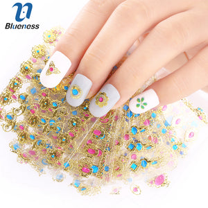 24 Pcs/Lot Beauty 3D Bronzing Cross Designs Nail Art Stickers Manicure Stamping Decals DIY Decorations Tools For Nails JH139