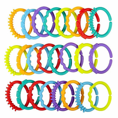 24Pcs Baby teether toys baby rattle colorful rainbow rings crib bed stroller hanging decoration educational link toys for kids