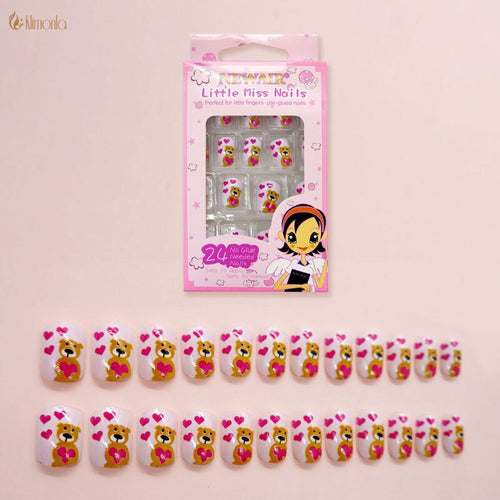 24Pcs/Set Cute Bear Children False Nails Sweet Color Non-toxic Fake Nails Pre-design Acrylic Nail Art Tips with Glue for Girls