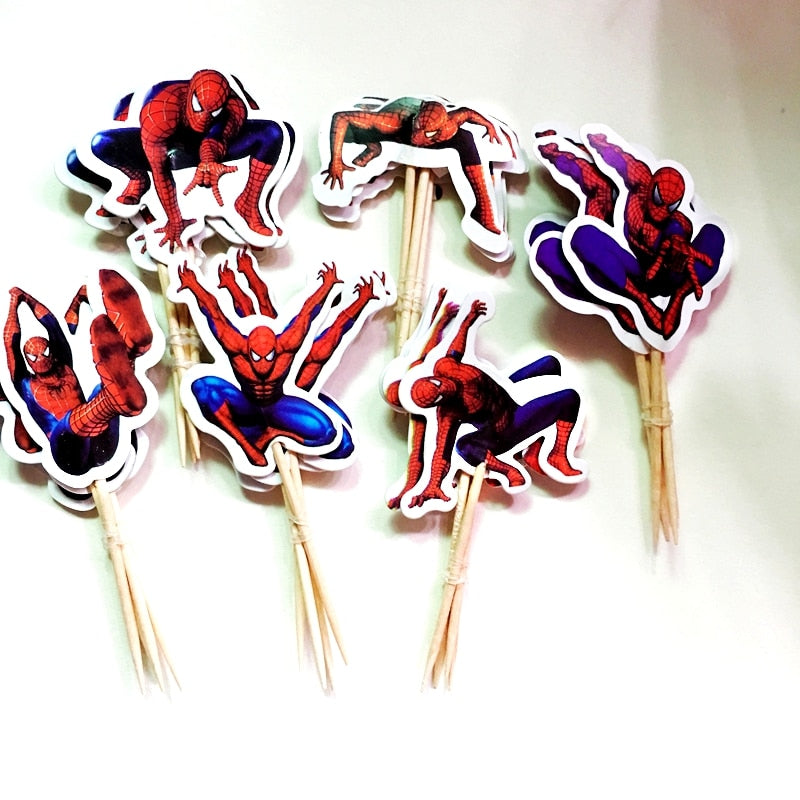 24pcs Cartoon Superman Spiderman Cake Hat Boy Party Cupcake Toppers Picks Kids Birthday wedding Decoration Family Party Supplies