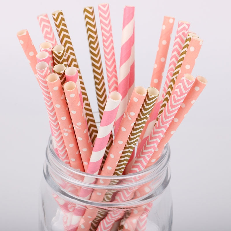 25pc Pink Striped Wave Design Paper Drinking Straws For Birthday Wedding Party Baby Shower Party Disposable Tableware Supplies