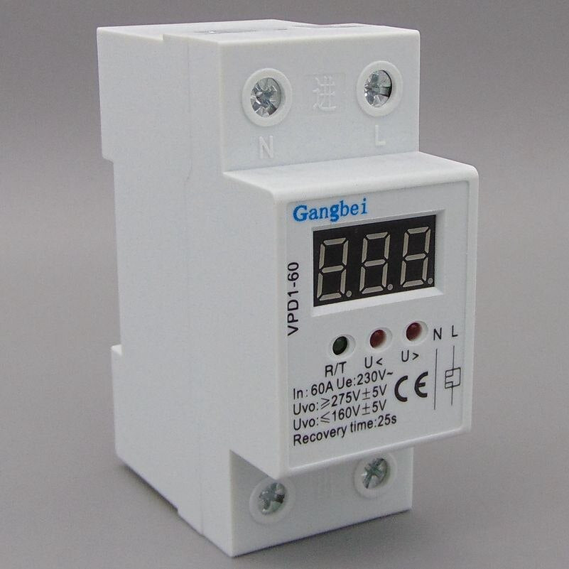 60A 220V automatic reconnect over voltage and under voltage protective device