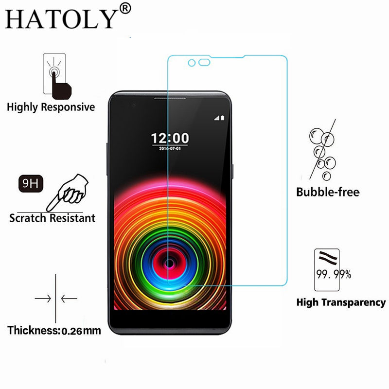 2PCS Tempered Glass sFor LG X Power Ultra-thin Screen Protector for LG X Power Toughened Protective Film + Cleaning Kit HATOLY