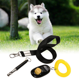 3 in 1 Ultrasonic Dog Training Whistle+Adjustable Pet Training Clicker+Free Lanyard Set Pet Dog Training Supplies