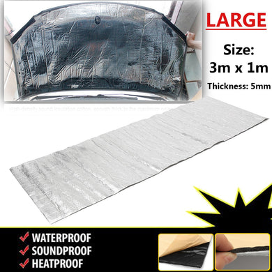 300cm x100cm Car Hood Engine Firewall Heat Mat Deadener Sound Insulation Deadening Material Aluminum Foil Sticker