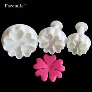 3PCS Heart Flower Cake Fondant Cookie Cutter Decorating Craft Paste Plunger Mold Cake Decorating Mold 01077