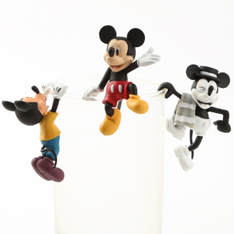 3PCS/SET Mickey Mouse Cup Doll Cute PVC Action Figure Doll Collection Model Toy Doll Gifts