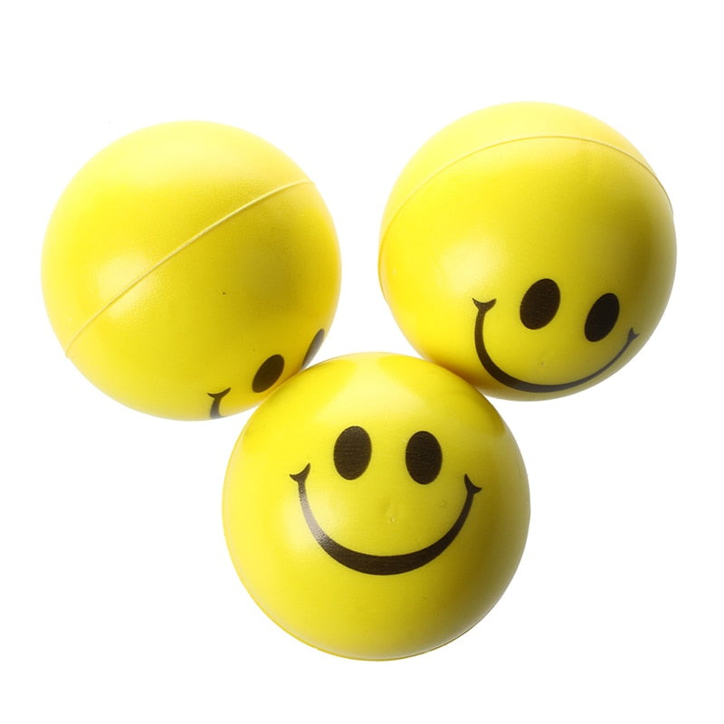 3Pcs Yellow Happy Face Bouncy Anti-Stress Ball Hand Exerciser Finger Trainer Smiley Face Relief Squeeze Ball Funny Toy