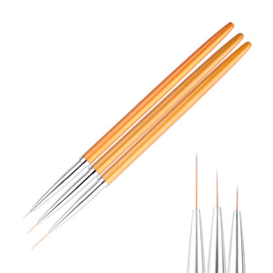 3Pcs/set Gold Nail Art Lines Painting Pen Brush Professional High Quality UV Gel Polish Tips 3D Design Manicure Drawing Tool Kit