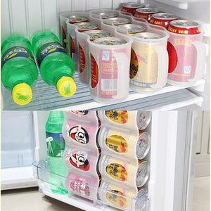 4 Case Organizer Beer Storage Box Space-saving Kitchen Beverage Drinking Bottle Holder Cans Refrigerator Coke Drink