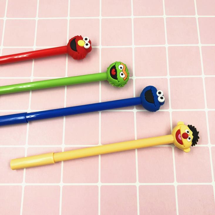 4 Pcs/set Cartoon Anime Sesame Street Elmo Gel Pens Signature Pens Kawaii Stationery School Office Supplies Gifts