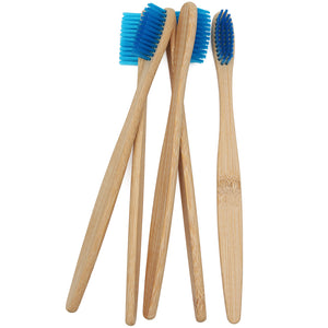 4 pcs Wooden Blue Bamboo Toothbrush Oral Care Soft Bristle Head Bamboo Toothbrush
