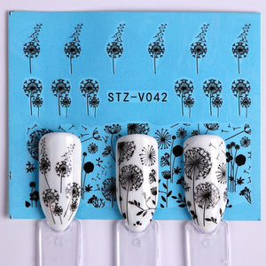 40pcs Flower Nail Art Water Decals Black White Lace Sliders for Nail Transfer Sticker Wrap Tip Manicure Decoration JISTZV001-048
