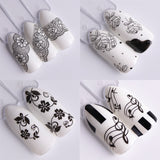 40pcs White Black Nail Stickers Water Transfer Decals Lace Flowers Butterfly Slider for Nail Art Decoration Manicure JIA577-624